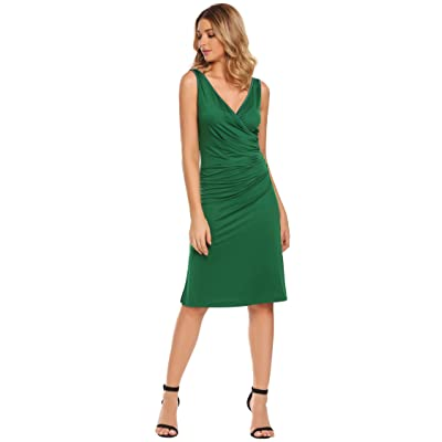 ACEVOG Damen Bodycon Etuikleid Vintage Kleid Elegant Knielang Festliche Kleider Rüschen Ärmellos Business Kleid