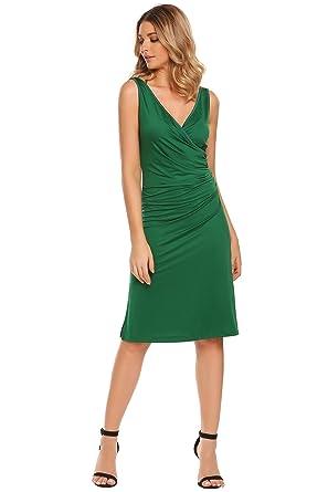 ACEVOG Damen Bodycon Etuikleid Vintage Kleid Elegant Knielang Festliche  Kleider Rüschen Ärmellos Business Kleid  Amazon.de  Bekleidung 72b48f41d5