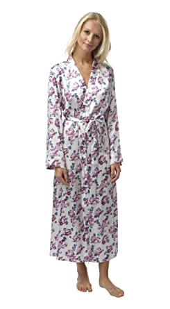 f84cc61ce9f Ladies Floral Rose Print Satin Feel Wrap Around Robe Dressing Gown. Sizes  10 12-26 28. (14 16)  Amazon.co.uk  Clothing