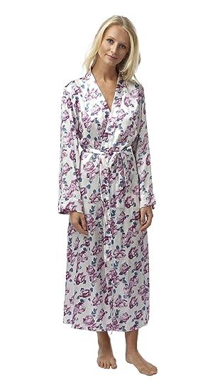 d43dac5038647e Indigo Sky Damen Morgenmantel Ivory Purple Teal Gr. Large, Ivory Purple Teal