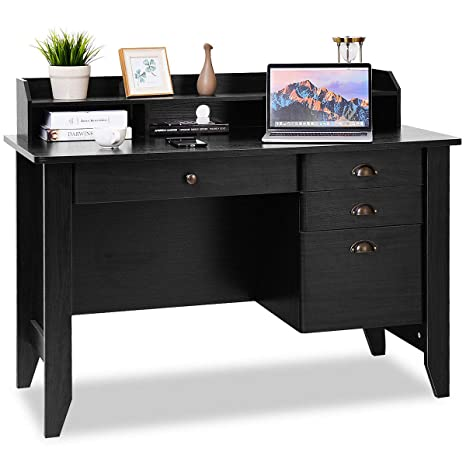 official photos 91183 b0070 Tangkula Computer Desk, Home Office Desk, Wood Frame Vintage Style Student  Table with 4 Drawers & Bookshelf, PC Laptop Notebook Desk, Spacious ...