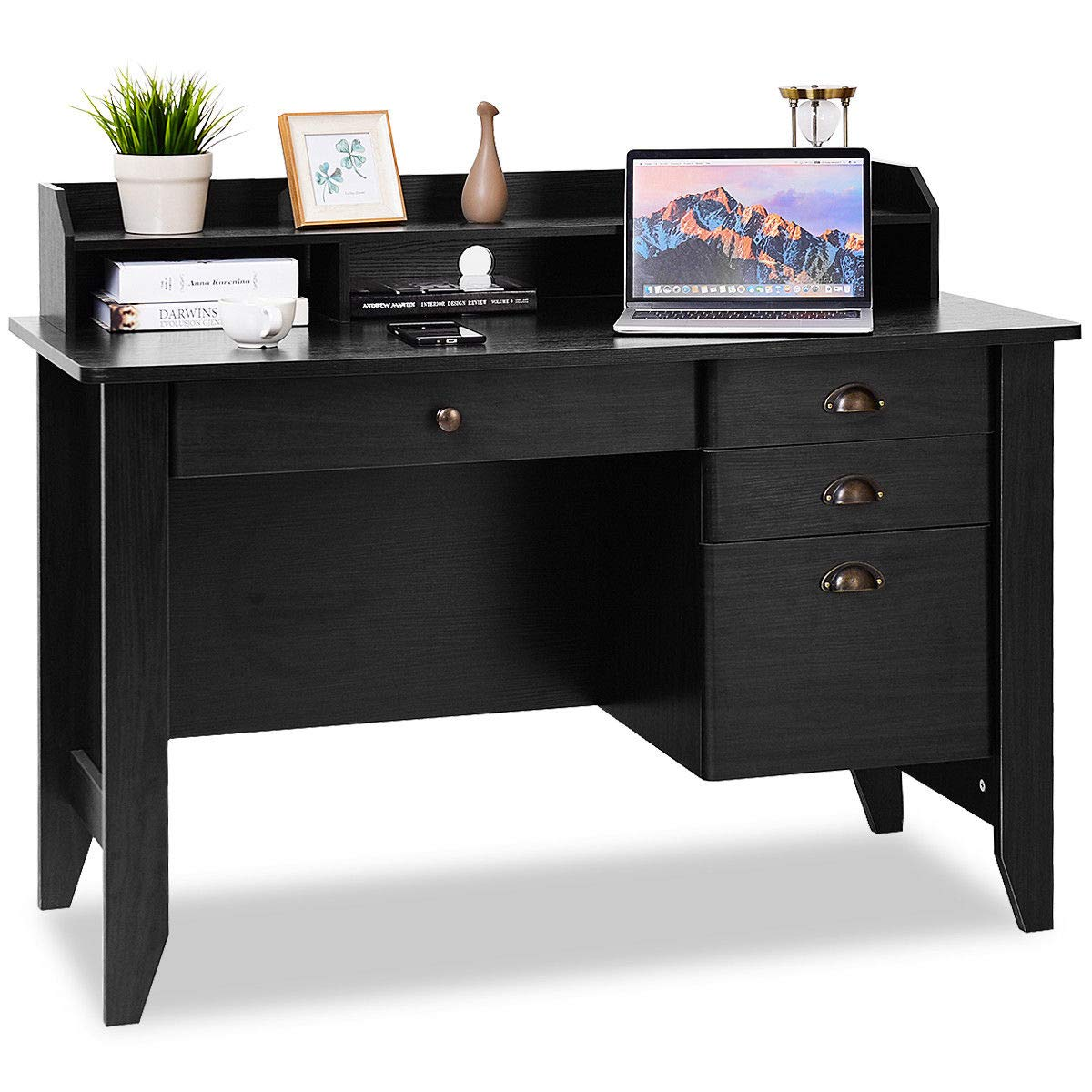 Tangkula Computer Desk, Home Office Desk, Wood Frame Vintage Style Student Table with Drawers & Bookshelf, PC Laptop Notebook Desk, Spacious Workstation Writing Study Table (Black)