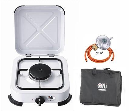 nj-01 portátil único quemador de gas estufa Camping esmalte tapa bolsa de transporte +