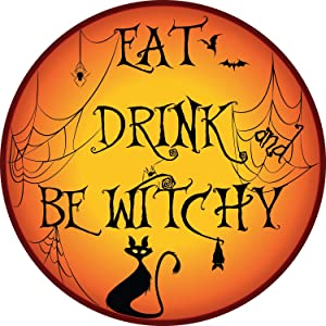 Car Magnet Halloween Eat and Drink Be Witchy Spooky Magnetic Decal for Locker or Fridge, 5 1/2 Inch