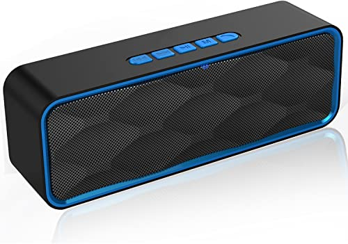 YISEA Wireless Bluetooth Speaker Portable Speaker V4.2 with Mega Bass, 12-Hour Playtime, Crystal Clear Stereo Sound, TF Card Slot, Built-in Mic,FM Radio, Perfect for iPhone, Samsung and More Blue
