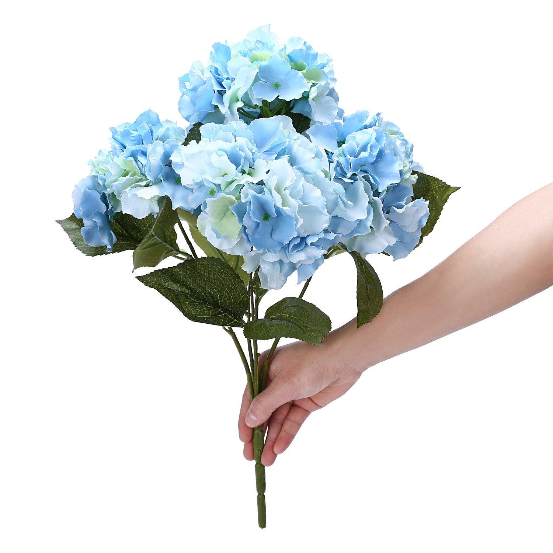 Amazon.com: Houda Artificial Silk Hydrangea Bouquet Fake Flowers ...