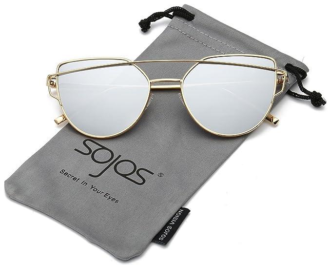 SOJOS Gafas De Sol De Moda Marca Metal Para Mujer-Lentes Planos De Espejo- Con Estilo Ojo De Gato SJ1001 Dorado Frente/Plateada Lentes