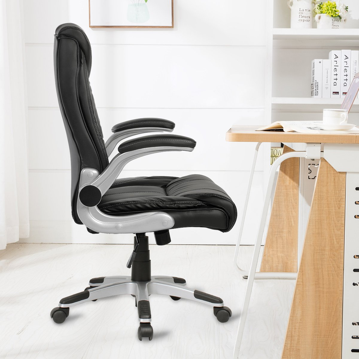 YAMASORO Ergonomic High-Back Executive Office Chair PU Leather Computer Desk Chair with Flip-up Arms and Back Support by YAMASORO (Image #4)