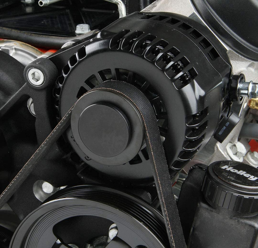 NEW HOLLEY PREMIUM BLACK MID-MOUNT COMPLETE ACCESSORY SYSTEM,SD7 A//C COMPRESSOR,ALTERNATOR,POWER STEERING PUMP,TENSIONER,SFI DAMPER HARD ANODIZED BILLET CRANK PULLEY,BELT,COMPATIBLE WITH GM LS ENGINES