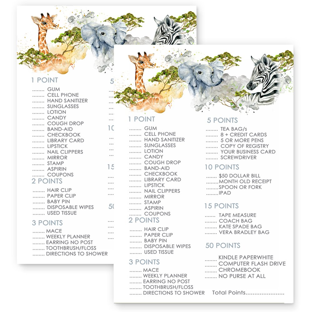 Jungle Whats In Your Purse Set of 25 Baby Shower Game Party Activity by Paper Clever Party (Image #4)