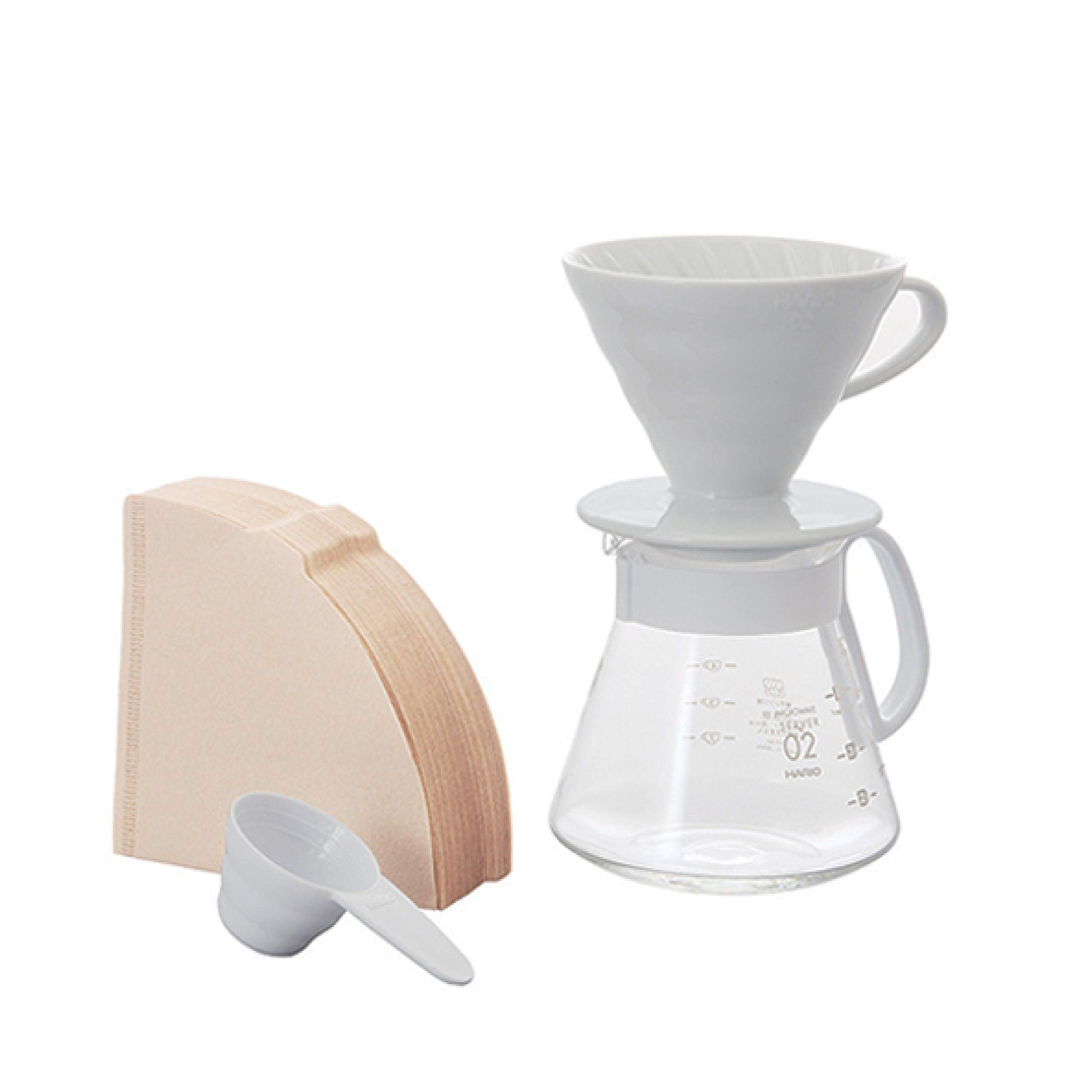 Hario V60 Size 02 Pour Over Set with Ceramic Dripper, Glass Server, Scoop and Filters, White by Hario