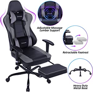 VON RACER Massage Gaming Chair - High Back Racing PC Computer Desk Office Chair Swivel Ergonomic Executive Leather Chair with Footrest and Adjustable Armrests, Gray/Black