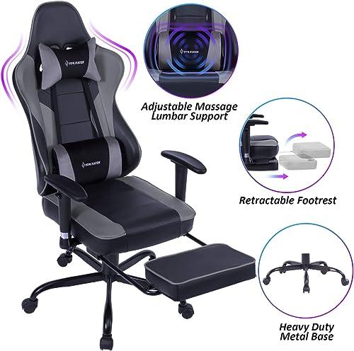 VON RACER Massage Reclining Gaming Chair