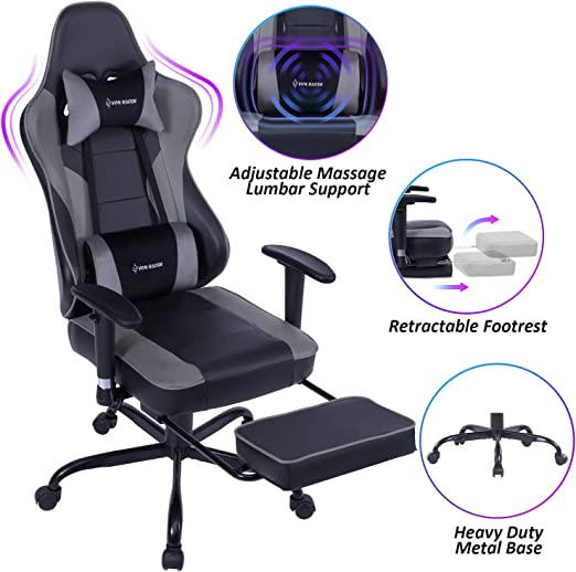 VON RACER Massage Gaming Chair - Extra-Spacious Flat Seat