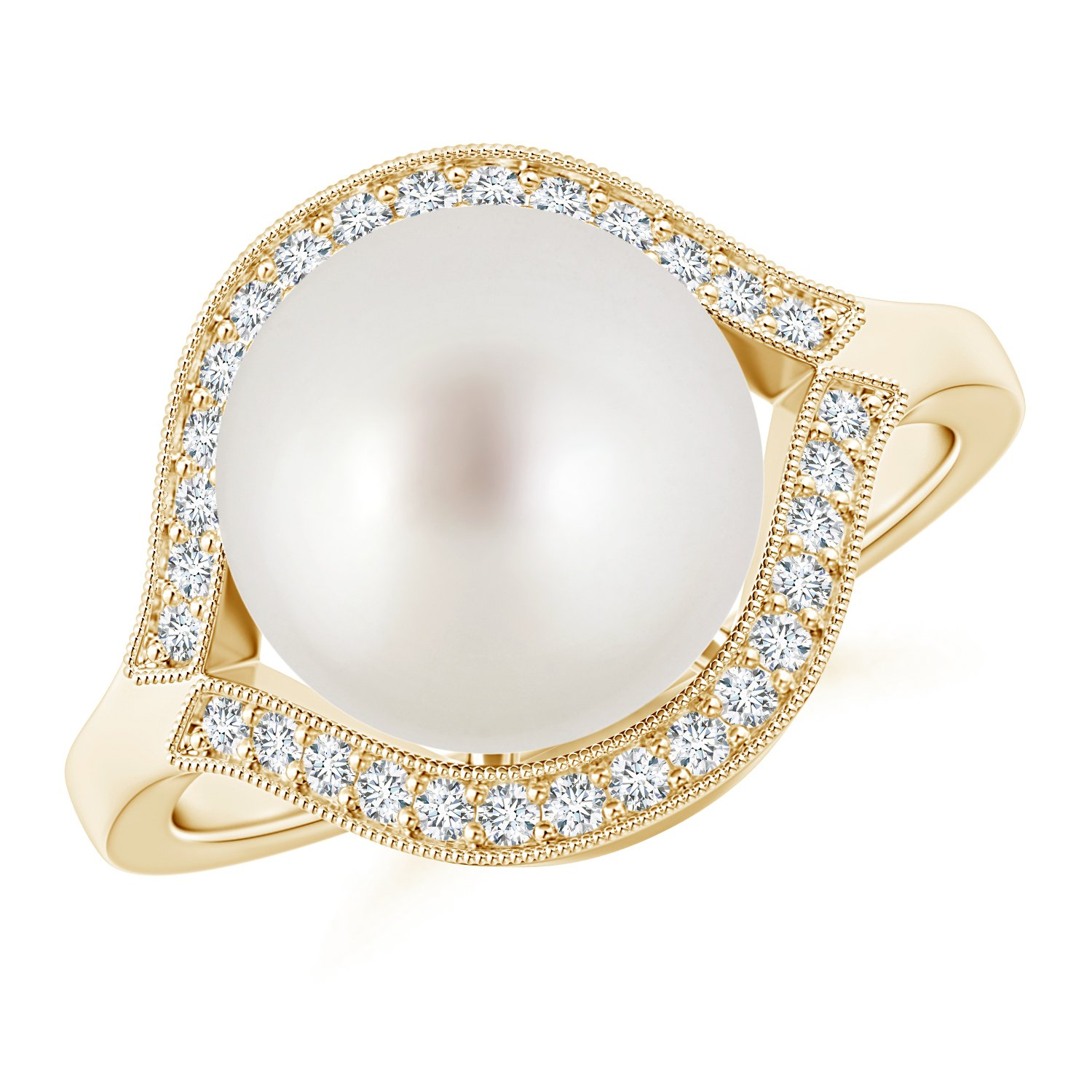 Round Solitaire South Sea Cultured Pearl Ring for Women with Wrapping Diamond in 14K Yellow Gold (10mm South Sea Cultured Pearl) by Angara.com