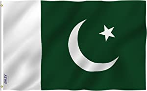 Anley Fly Breeze 3x5 Feet Pakistan Flag - Vivid Color and UV Fade Resistant - Canvas Header and Double Stitched - Islamic Republic of Pakistan Flags Polyester with Brass Grommets 3 X 5 Ft