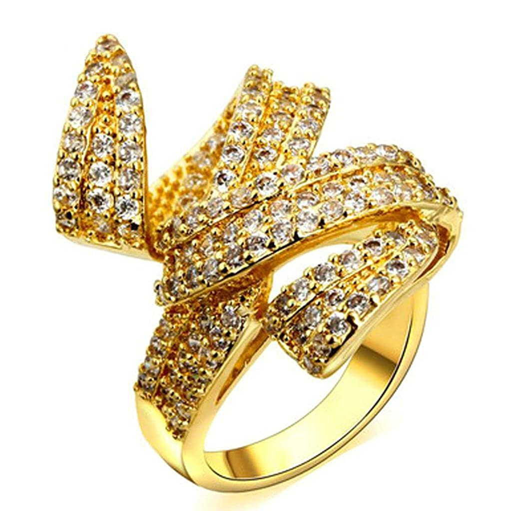 Daesar Gold Plated Rings Womens Ring Gold Twist Cubic Zirconia Wedding Ring Infinity