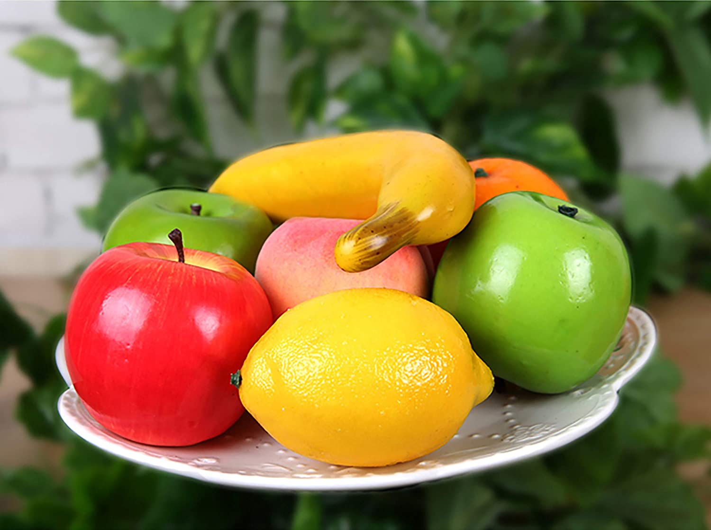 Plastic Apple Orange Pear Lemon Simulation Artificial Lifelike Fruit Decor X8I0