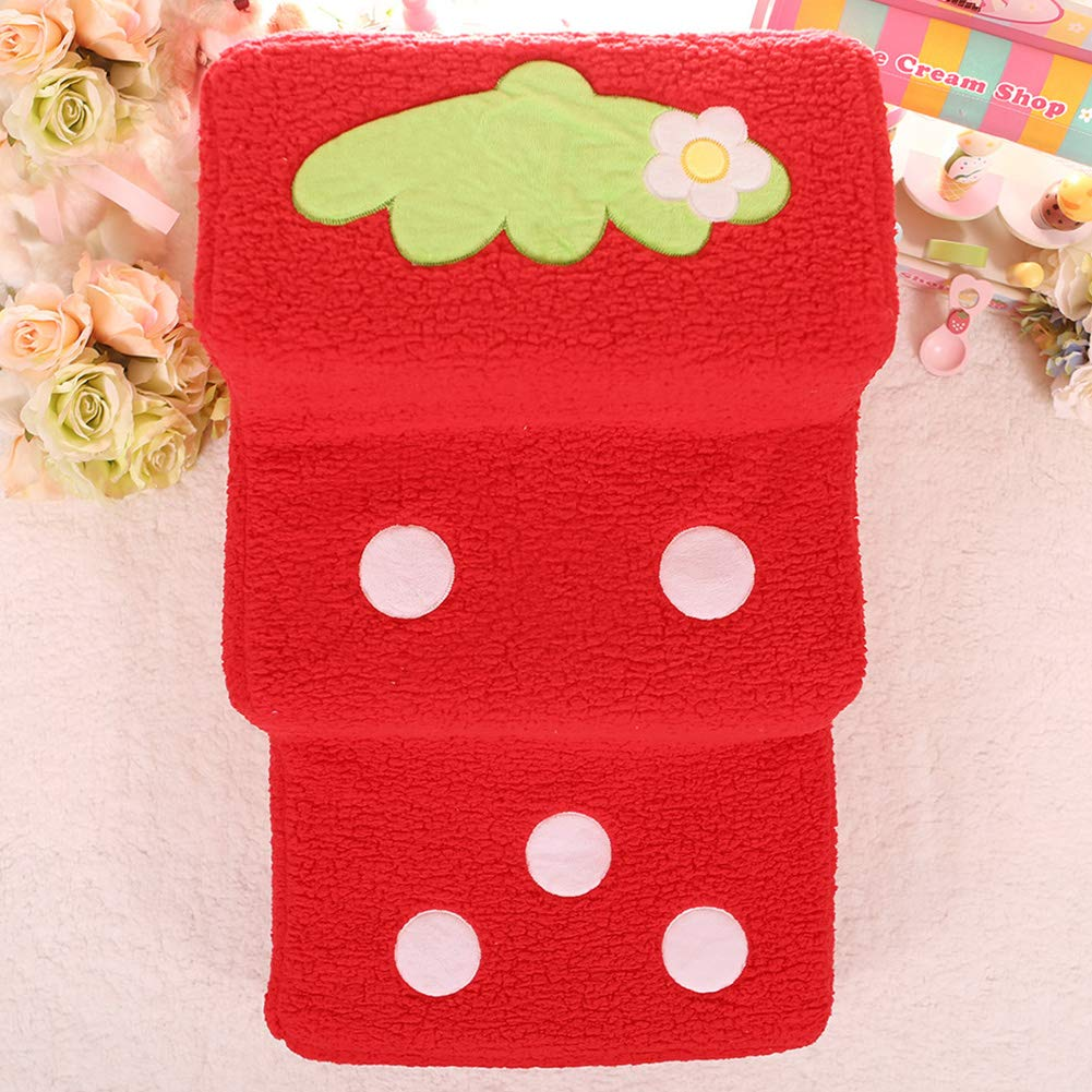 Bright red LargeDishyKooker Home Cute Cartoon Strawberry Shape Pet Steps Ladder Toy for Small Dog Teddy Pink L