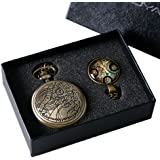 YISUYA Vintage Bronze Doctor Who Retro Dr Who Pocket Watch with Chain Mens Boys Necklace Pendant Gift Box