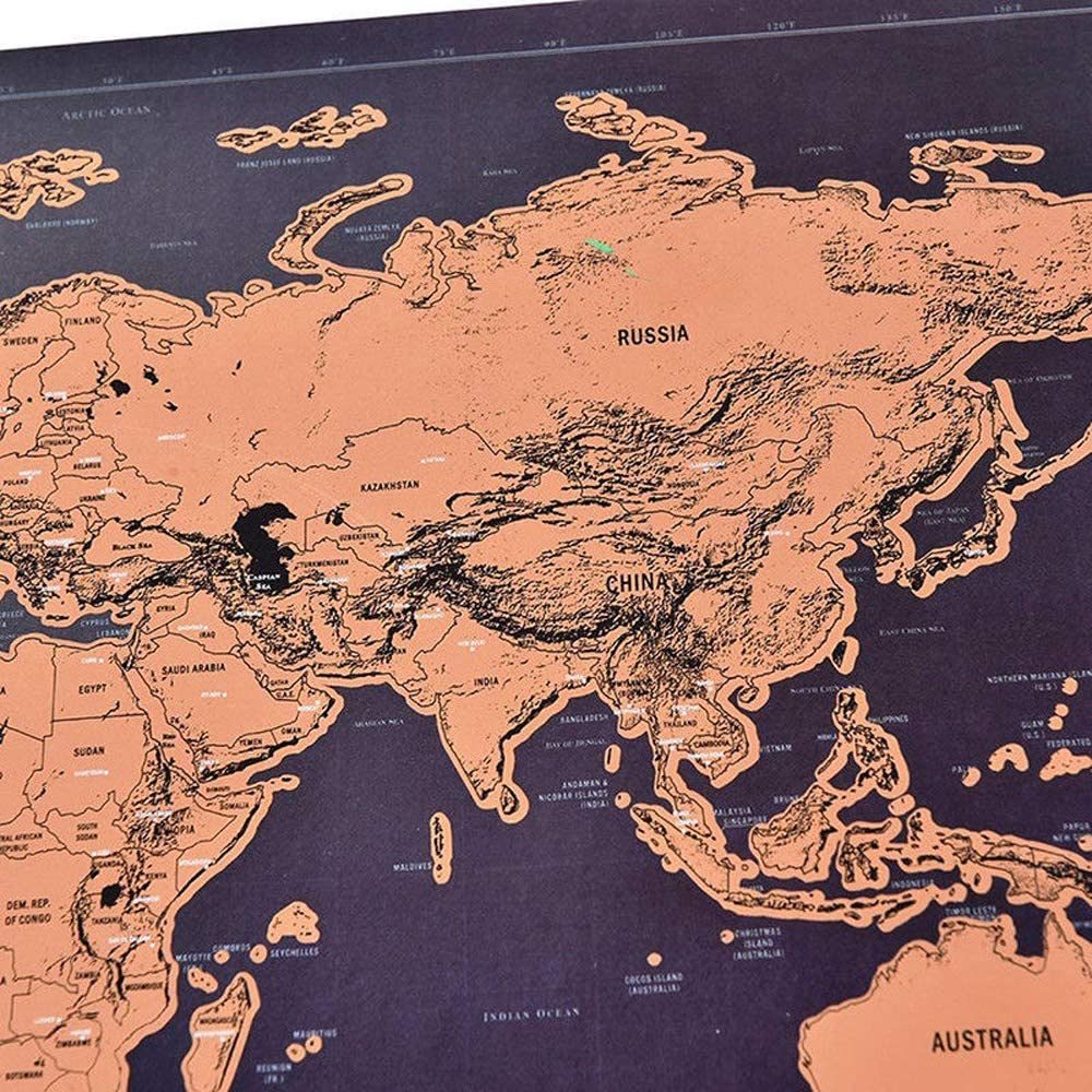 Deluxe Scratch Off World Map Poster Journal Log Giant Map of The World Gift