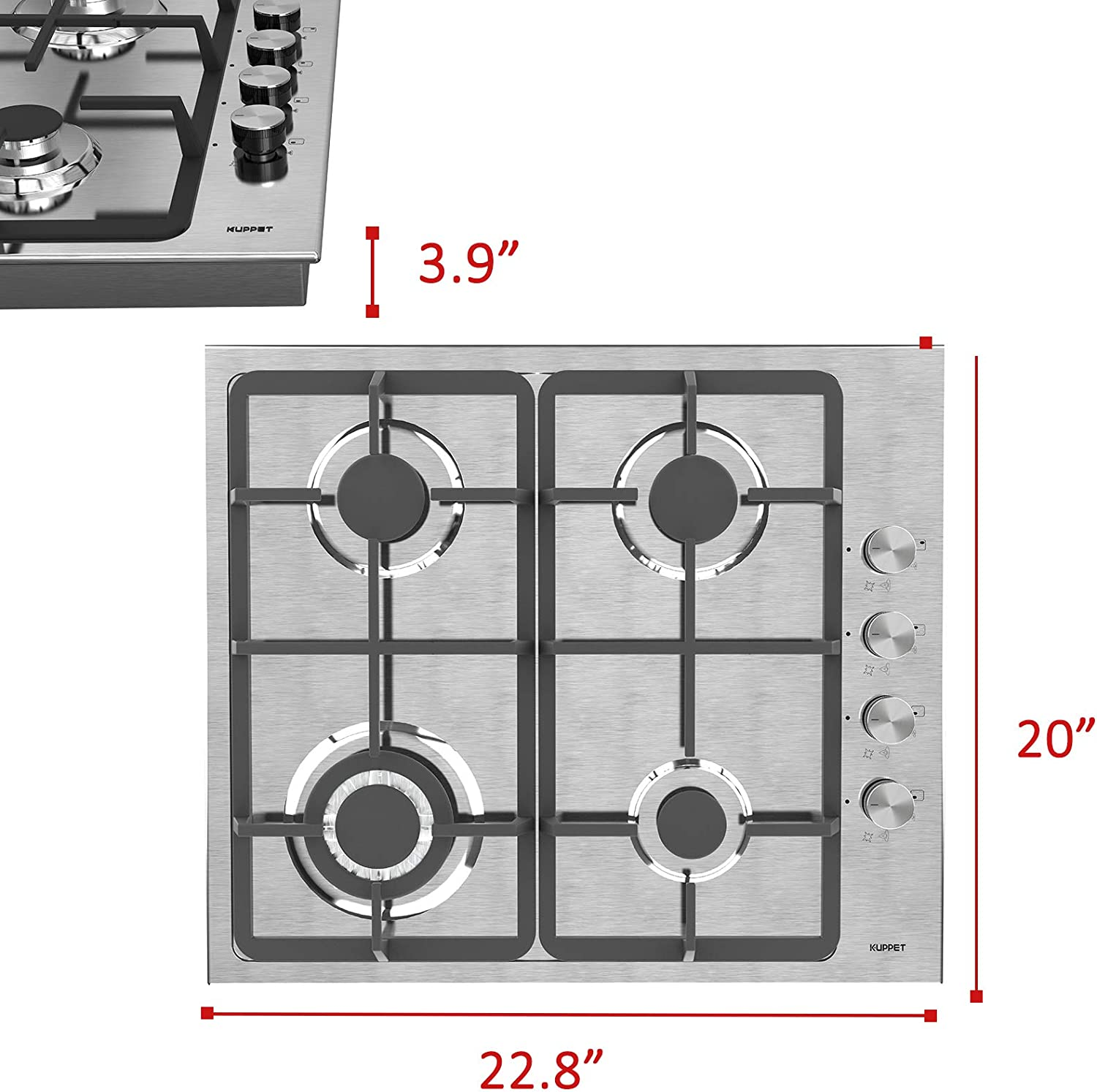 5 Burners Gas Stove Cooktop ETL Safety Certified Gas Cooktop KUPPET 20x34 inches Built in Gas Cooktop Stainless Steel Cooktop Gas Hob Thermocouple Protection