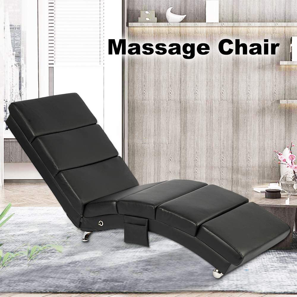 oneinmil Electric Massage Recliner Chair - Leather Chaise Lounge Indoor Chair, Modern Long Lounger for Office or Living Room (Black)