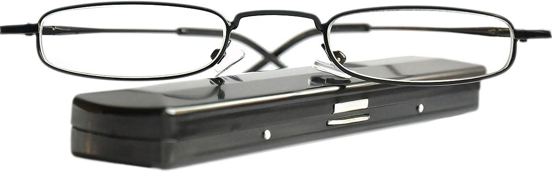 Mini Gafas de Lectura de Metal Ligeras, Montura de Acero Inoxidable (Negra), Estuche de Aluminio GRATIS, Ayuda Para Leer Para Mujeres y Hombres, Dioptrías +2.5: Amazon.es: Salud y cuidado personal