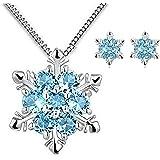 Findout dames argent sterling bleu Cubic Zirconia flocon de neige pendentif collier .for femmes filles. (F1738) + flocon de neige libre boucle d'oreille