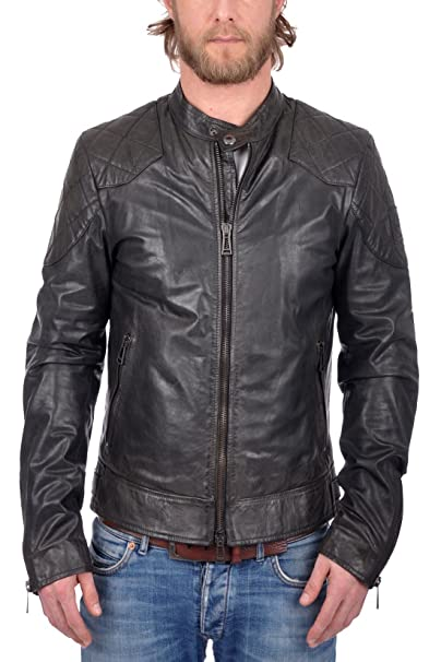 9bfe3f063 Belstaff Men's Outlaw Lightweight Hand Waxed Leather Jacket Black ...