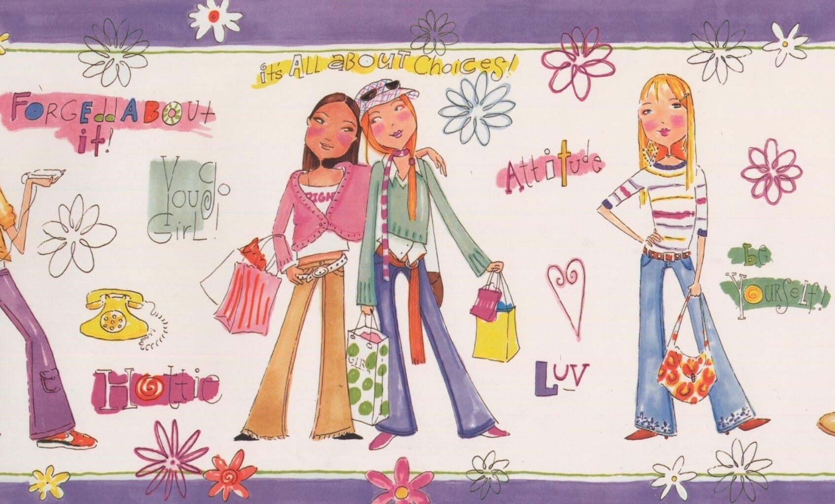 Girls Power White Wallpaper Border for Teens Bedroom Bathroom, Roll 15' x 9''