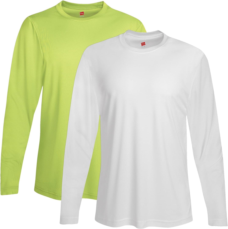 Hanes Men's 2 Pack Long Sleeve Cool Dri T-Shirt UPF 50+ - 1 Safety Green / 1 White - XX-Large