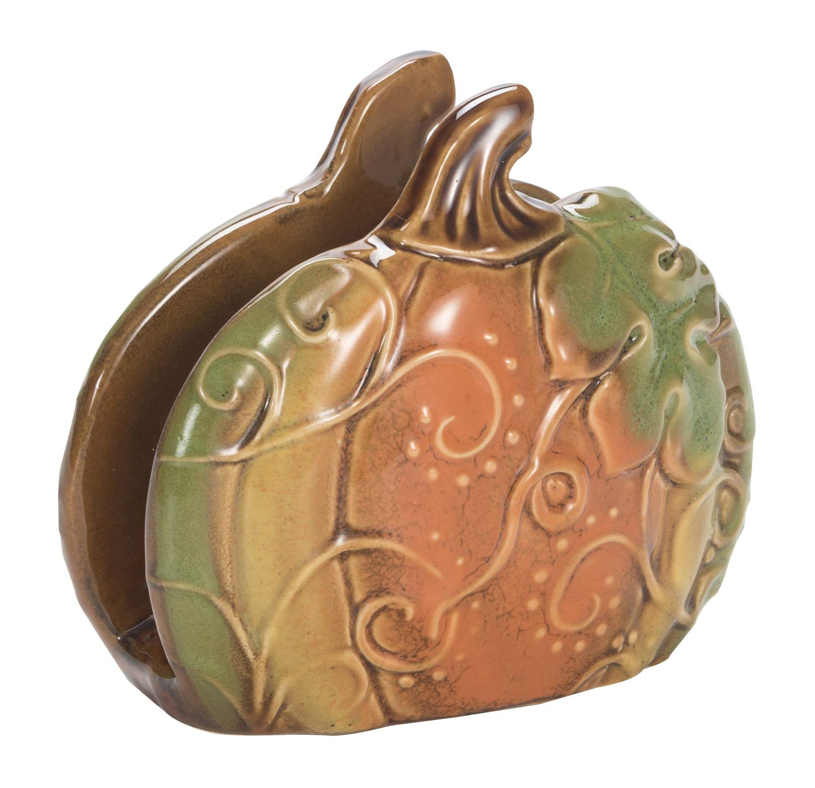 Woodland Greens Autumn Multicolored 5 x 4 Ceramic Harvest Napkin Holder