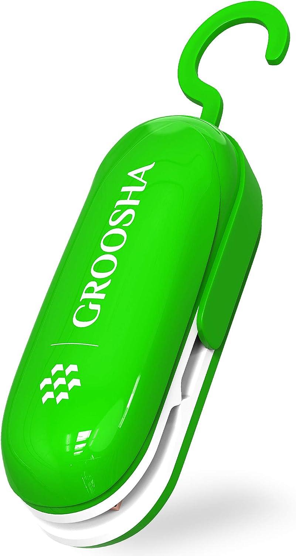 GROOSHA Mini Bag Sealer 2 in 1 Original with Detachable Hook Heat Sealer - Cutter Handheld Portable Sealer Machine Bag Resealer Vacuum for Plastic Bags Food Storage Snacks Freshness GREEN