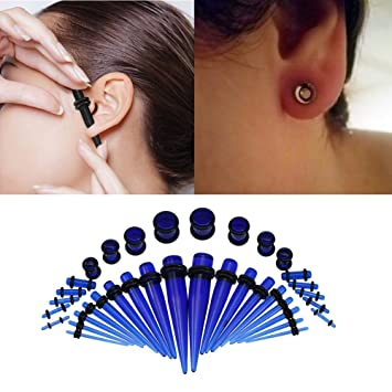 Sky Blue Fashionable Acrylic Stretcher Ear Plug Taper Expander O-Ring Stretching Kit Ear Tapers