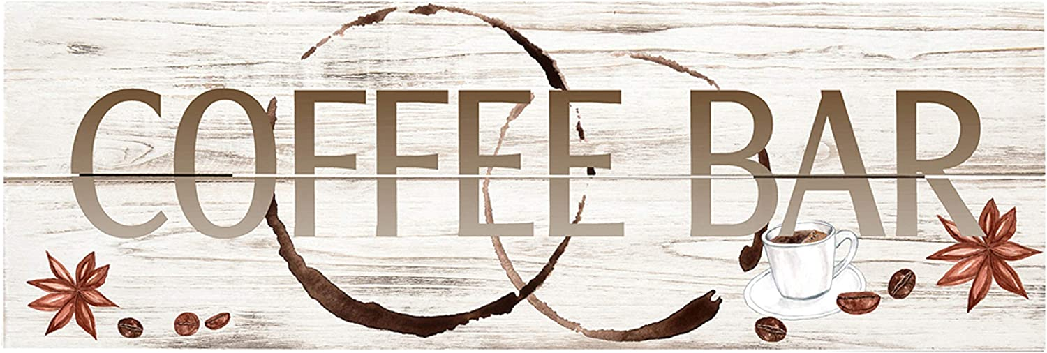 """Rustic Pallet Art Coffee Bar 18"""" x 6"""" Wood Pallet Design Wall Art Sign - Hand Made by Amish"""