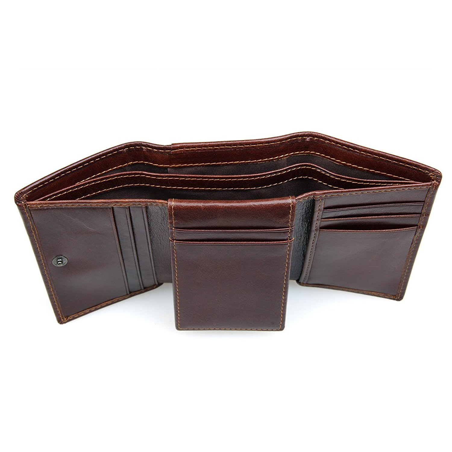 Reinhar Mens Leather Trifold Wallet with Back Pocket