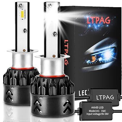 LTPAG Bombilla H1 LED Coche, 2pcs 72W 12000LM Lampara H1 LED 12V/24V Luces LED Coche H1, Faros Reemplazo de Halógena y Kit Xenón H1, Blanco 6000K, ...
