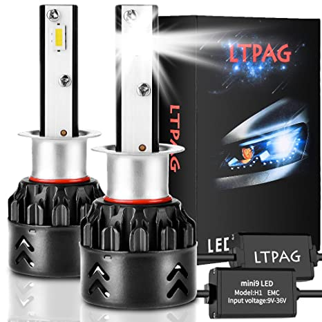 LTPAG Bombilla H1 LED Coche, 2pcs 72W 12000LM Lampara H1 LED 12V/24V Luces