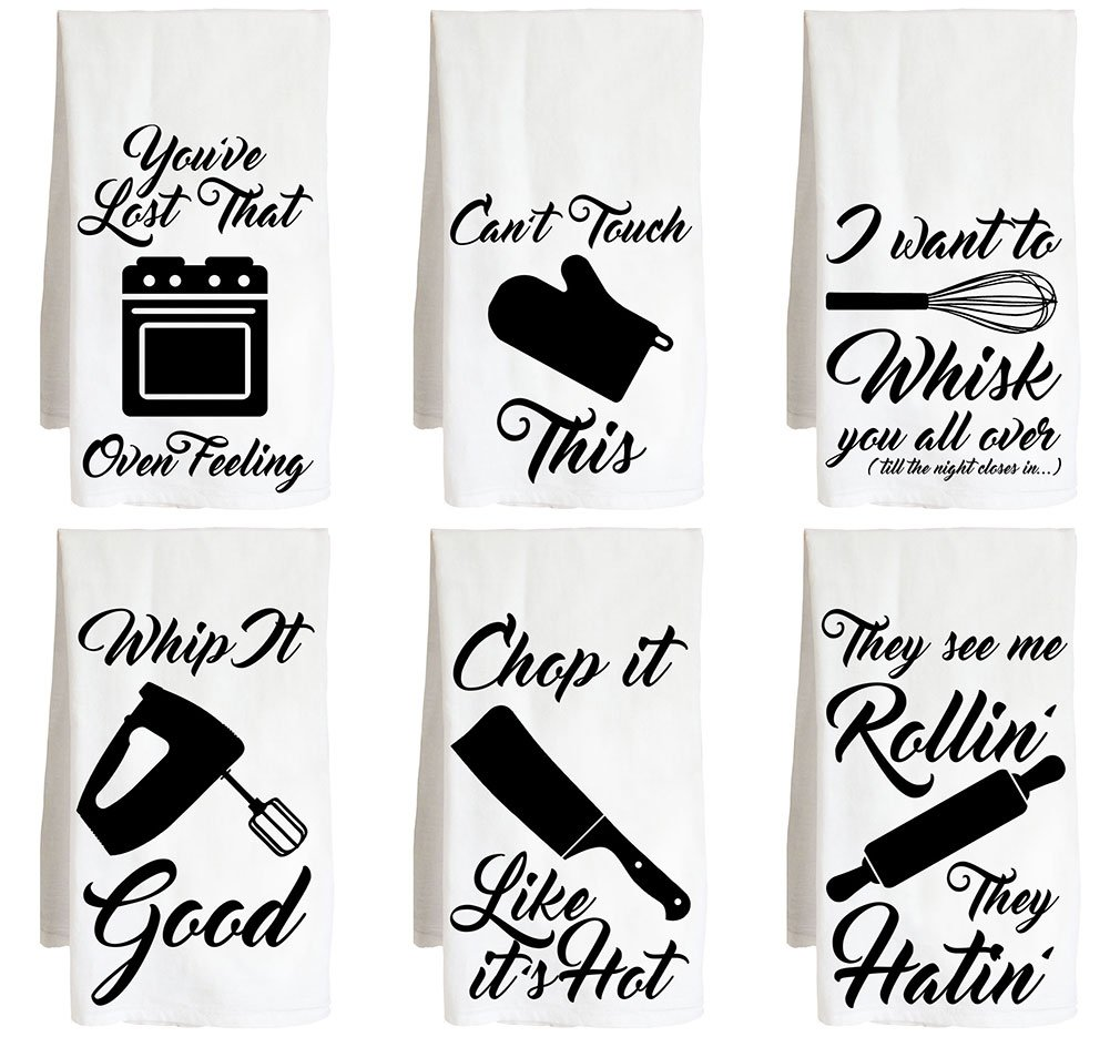 Live Nice Kitchen Utensils - SIX Pack - Funny Joke - Farm Flour Sack Kitchen Tea Towel by Live Nice