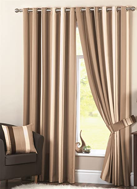 Wilson Striped Lined Curtains 46quot X 54quot Natural Brown Ivory Cream Beige Pair Of