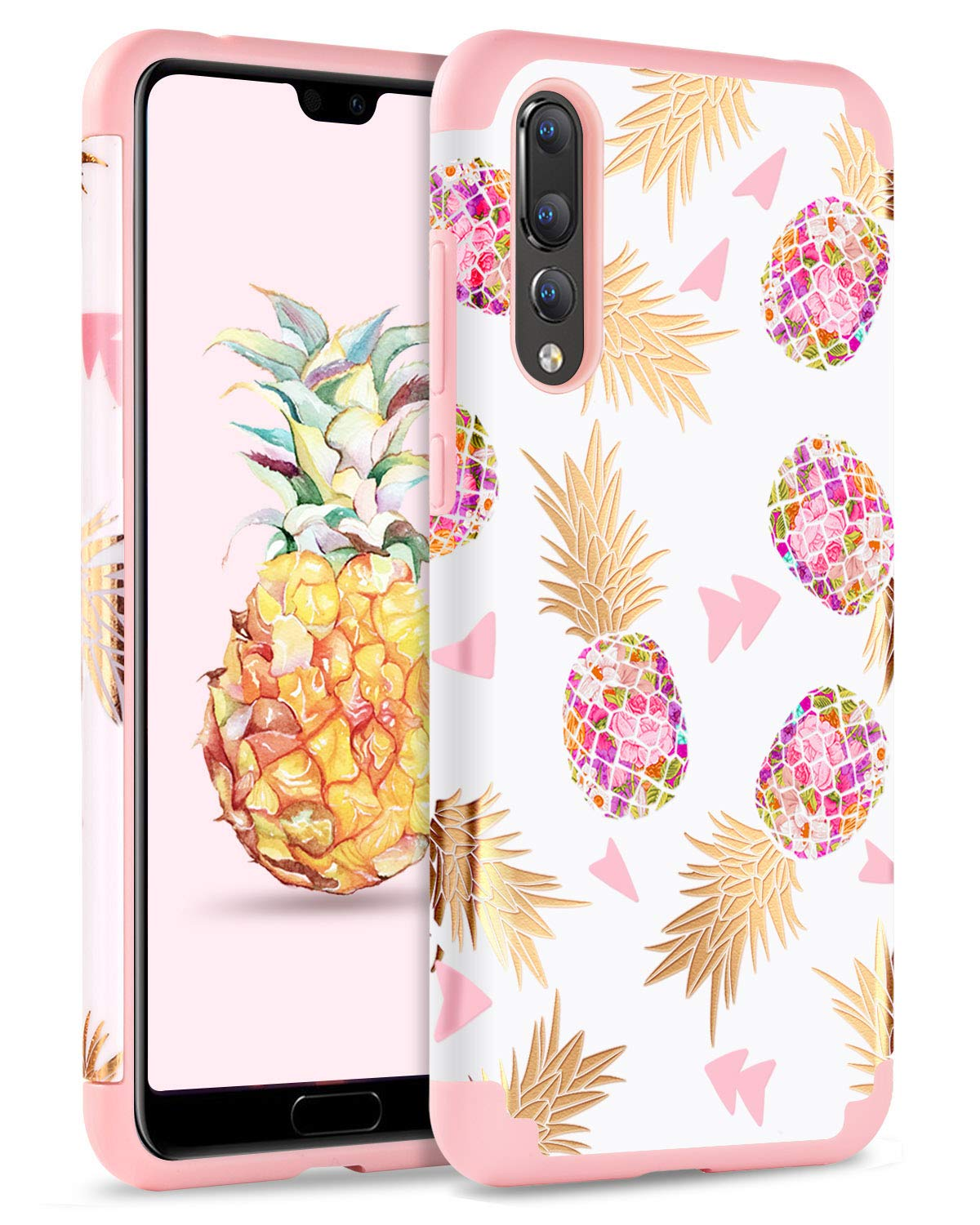 Case for Huawei P20 Pro, BENTOBEN Cute Pineapple Phone Huawei P20 Pro Case, Dual Layer Full Body Protective Phone Case for Girls & Women, 2 in 1 Shockproof Slim Hybrid Hard PC and Silicone Cover for Huawei P20 Pro, Gray
