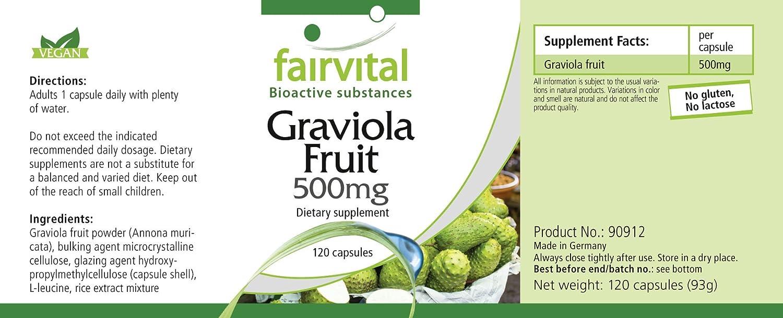500mg Fruta Graviola - Bote para 4 meses - VEGANO - Alta dosificación - 120 Cápsulas: Amazon.es: Salud y cuidado personal