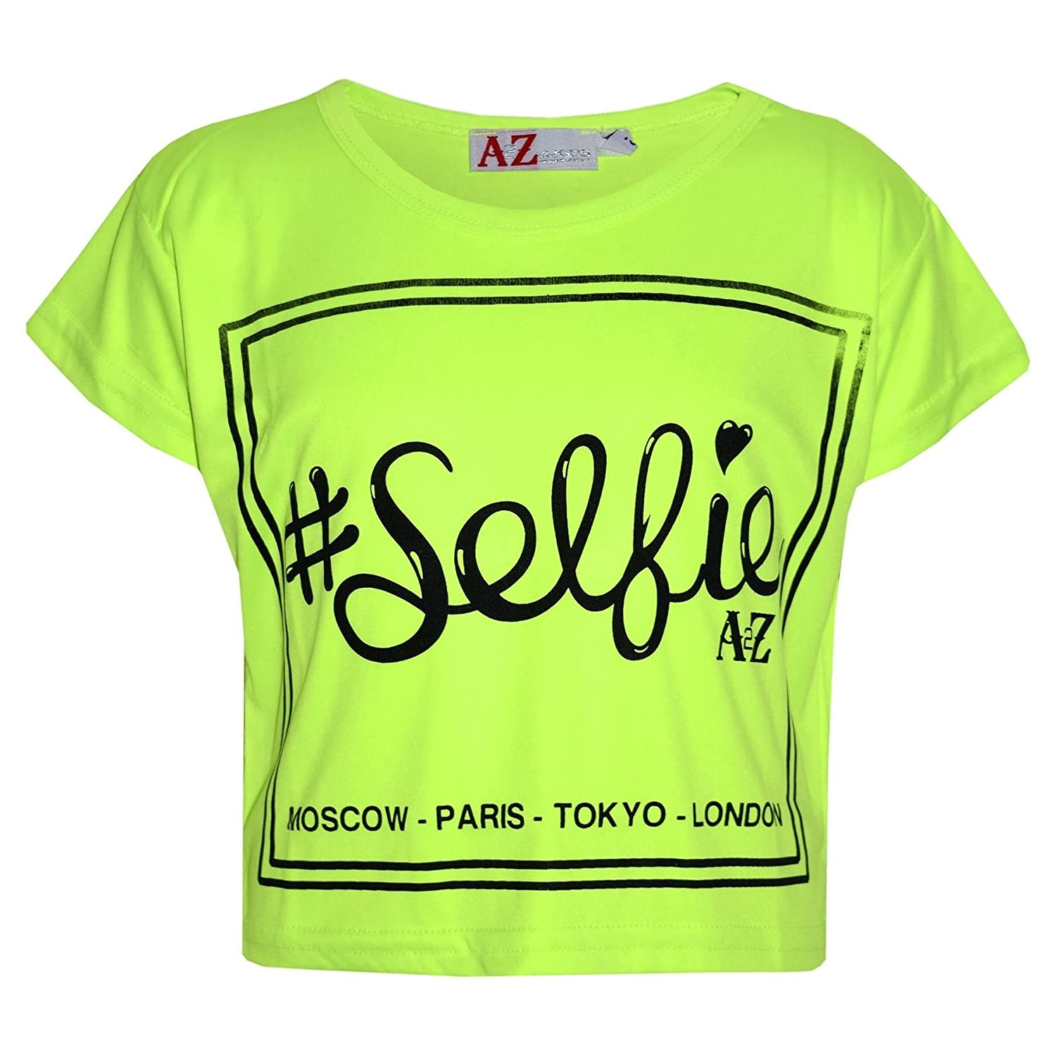 A2Z 4 Kids® Girls Top Kids #Selfie Print Stylish Fahsion Trendy T Shirt Crop Top New Age 5 6 7 8 9 10 11 12 13 Years