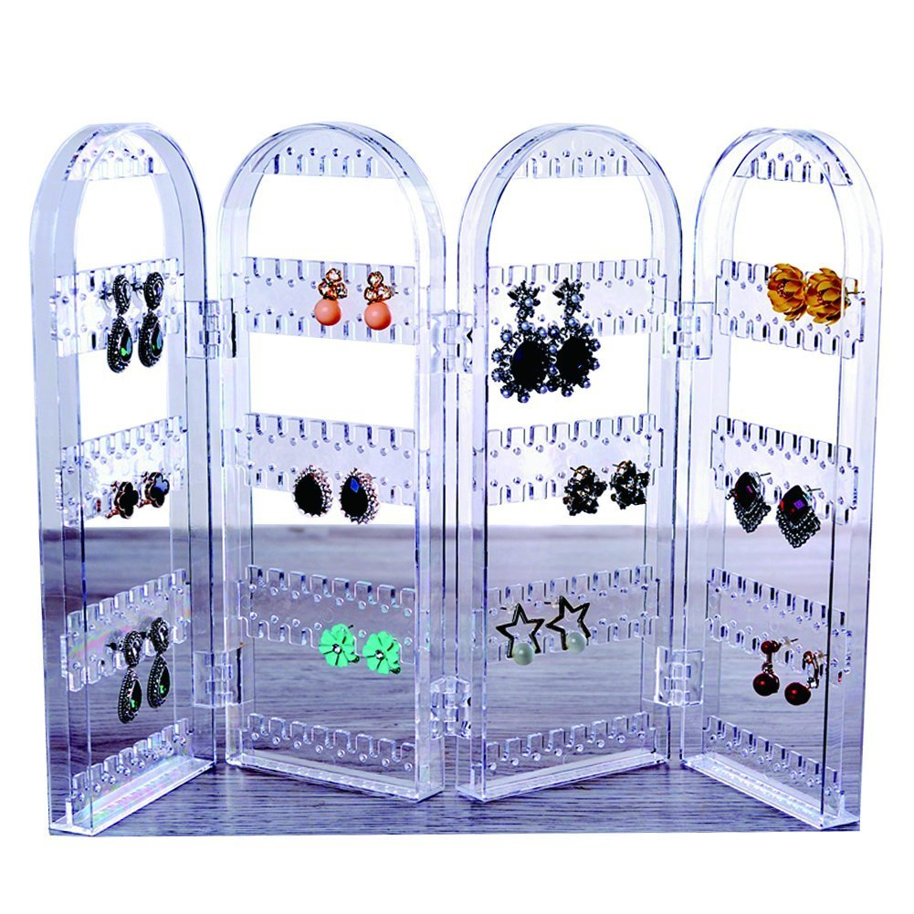 JOPIN Earring Holder Jewelry Display Foldable Acrylic Earring, Necklace Holder 3 folds Lucency Earring Display (Lucency)