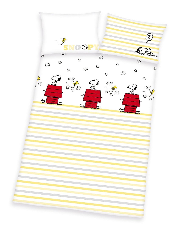 Herding Peanuts SNOOPY Baby BIO Bettwäsche, 40x60 100x135cm, 100% kbA Bio Baumwolle
