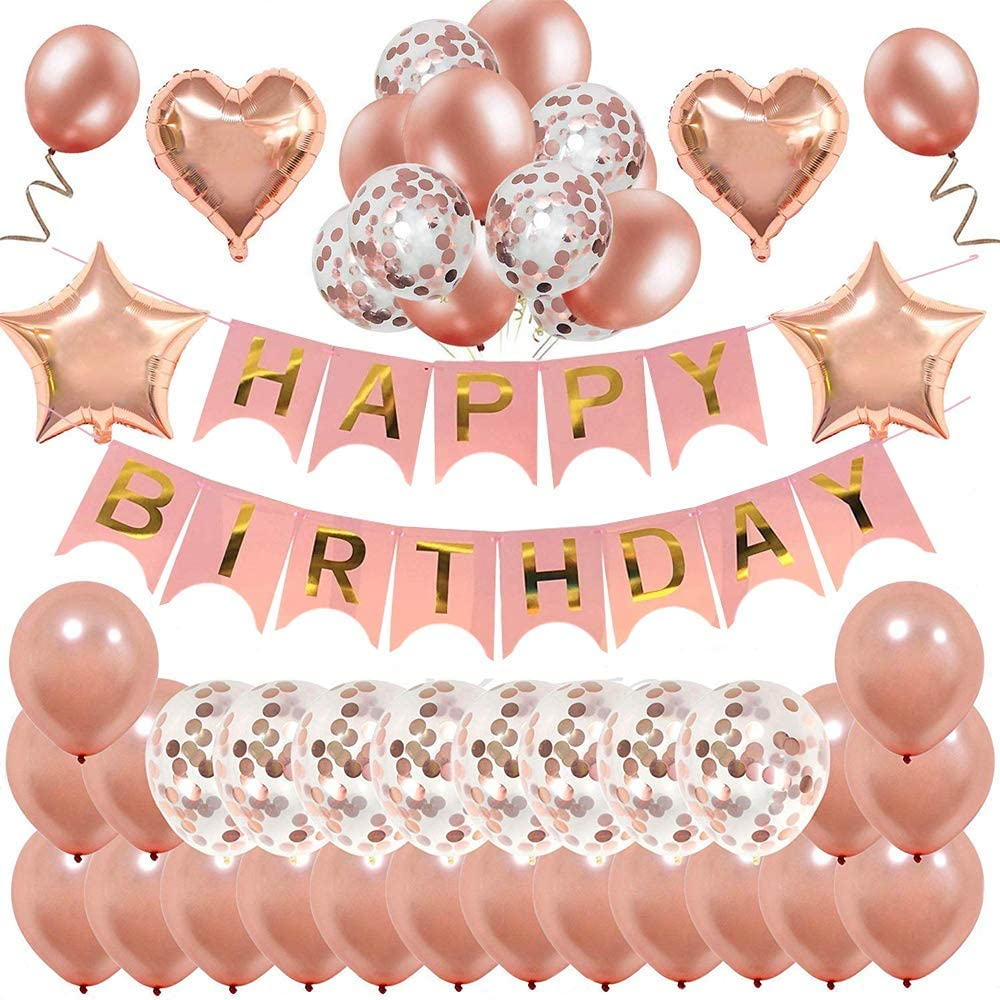 Rose Gold Birthday Decorations,MMTX Happy Birthday Banner Bunting for Girls and Women with 32 Latex Balloons 10 Confetti Balloons Foil Balloons Party Supplies