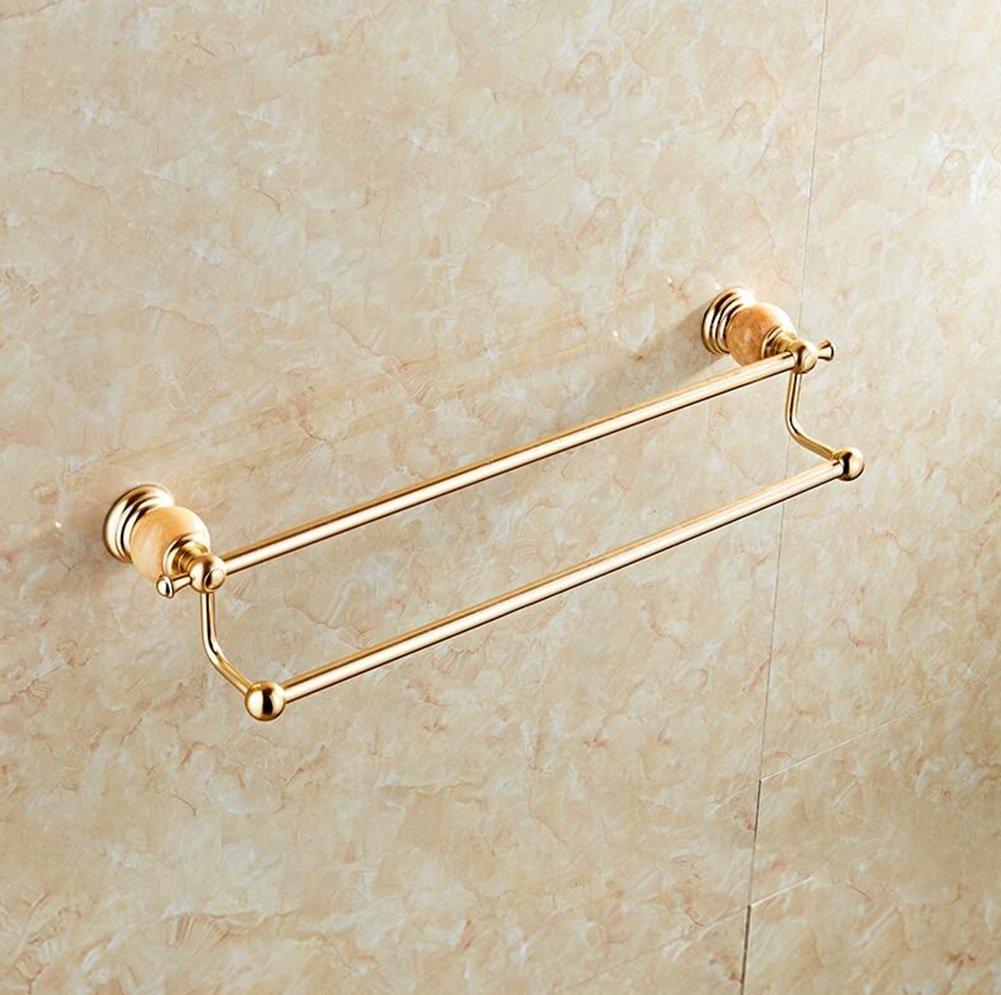 Utility Racks European - Style Natural Jade Bathroom Towel Rack Space Aluminum Double Wall Towel Bar Bathroom Accessories