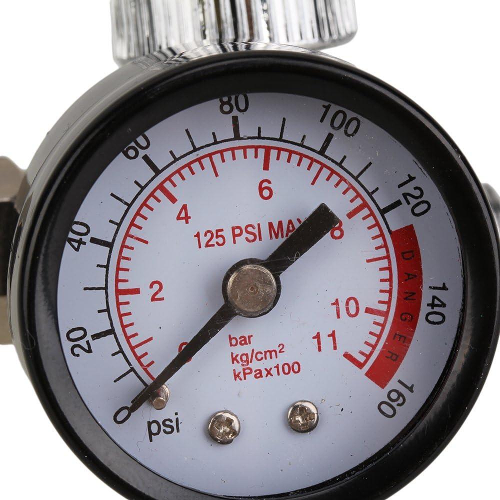 BQLZR Pneumatic Air Adjusting Regulator Valve with Pressure Gauge 0-160psi Dial 1//4 Compressor