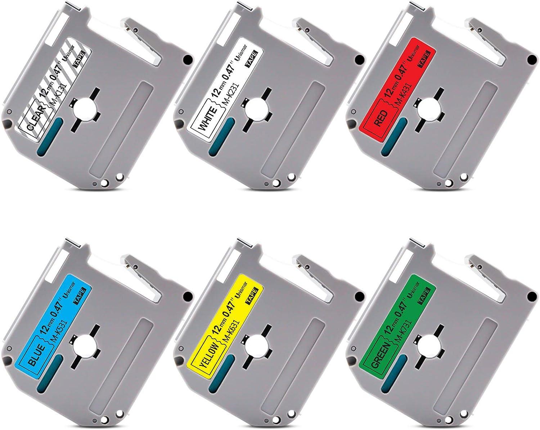Unismar Compatible Label Tape Replacement for Brother P-Touch M Tape M-K131 M-K231 M-K431 M-K531 M-K631 M-K731 for PT-70BM PT-M95 PT-90 PT-70 PT-65 PT-85 Label Maker, 1/2
